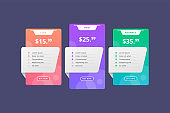 Modern colorful pricing table template. price list vector design template