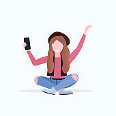 woman taking selfie photo on smartphone camera casual female cartoon character sitting girl in hat posing on white background flat full length