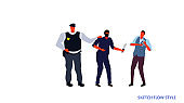 policeman officer arrested masked thief holding knife attacking man with wallet dangerous robber arrest concept sketch flow style horizontal full length