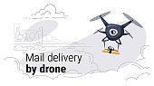 quadcopter express air mail delivery by drone concept modern city buildings cityscape background sketch doodle horizontal