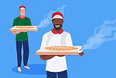 couple male cook chef characters holding box with hot traditional pizza mix race men in uniform food cooking concept restaurant kitchen workers flat horizontal