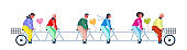 people group riding tandem bike with heart shape air balloons happy valentines day concept couples in love successful teamwork flat horizontal banner isolated