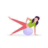 sporty woman doing exercises with fitness ball girl training in gym aerobic pilates workout healthy lifestyle concept flat white background