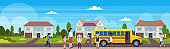 teacher with mix race pupils walking in yellow school bus pupils transport concept residential suburban street landscape background flat horizontal banner full length