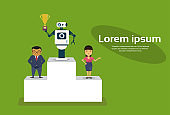 Successul Robot Standing On Top Of Winners Podium Holding Golden Cup Artificial Intelligence Concept