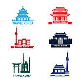 Travel To Korea Icons Set, Collection Of Silhouette Seoul Landmarks South Korean Palace And Temple