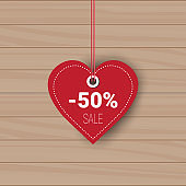 Heart Shaped Sale Tag Holiday Shopping For Valentines Day Sticker Discount On Wooden Texture Background