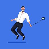 business man using selfie stick taking photo on smartphone camera businessman in formal wear male cartoon character posing flat full length