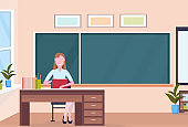 woman teacher sitting at desk reading book education concept modern school classroom interior chalk board female cartoon character full length horizontal flat