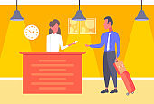businessman with baggage taking keys business man arrive to hotel check in woman receptionist registration at reception counter hall interior horizontal