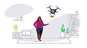 fat overweight woman getting parcel gift box from quadcopter express air mail delivery by drone concept modern apartment living room interior sketch doodle horizontal