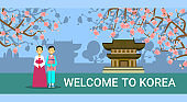 Welcome To South Korea Banner, Korean Coupe In Traditional Costumes Over Seoul Landmarks