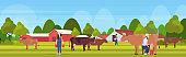 woman farmer carrying fresh milk pails man milking cow domestic animal cattle eco farming breeding concept farmland countryside landscape flat full length horizontal vector illustration