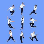 set businessman dancer in different poses male cartoon character dancing collection blue background flat full length
