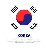 South Korea Flag White Background With Copy Space