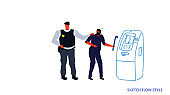 police taking security protection policeman arrested masked thief stealing sensitive data and money from ATM machine robber arrest concept sketch flow style horizontal full length