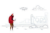 man using aerial remote controller playing drone copter modern city urban park casual guy operating quadrocopter flying quadcopter outdoor sketch doodle horizontal