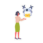 woman getting paper envelope message parcel drone delivery service concept fast air transportation businesswoman mail receiver isolated flat