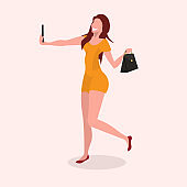 woman taking selfie photo on smartphone camera girl holding handbag posing and smiling female cartoon character full length flat