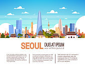 Modern Seoul City Skyline With Skyscrapers And Landmarks South Korea Cityscape Infographics Banner With Copy Space