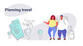 fat obese man woman travelers standing together overweight couple planning travel concept people with baggage choosing hotel and tickets booking sketch doodle horizontal