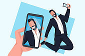 hand holding smartphone and taking photo on camera businessman jumping pose male cartoon character posing flat full length horizontal