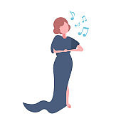 elegant woman opera singer in blue dress singing karaoke songs concert and music concept female cartoon character full length flat isolated