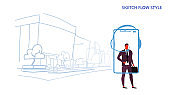 businessman operator using headphones mobile application call center worker customer support concept smartphone screen city street cityscape background sketch flow style horizontal