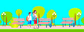 mother with schoolboy and baby boy walking in city public park happy family woman with two children enjoying walk outdoor landscape background full length horizontal
