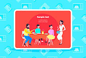 happy family having breakfast housewife serving food to her husband and children sitting at dinning table cartoon characters full length flat horizontal copy space