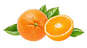 Oranges isolated with leaves on white background with clipping path
