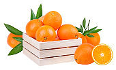 Oranges in a wooden box isolated on white background with clipping path