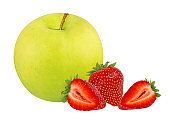 Green apple with strawberries  isolated on white background with clipping path