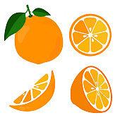 Bright vector set of colorful half, slice and segment of juicy orange.
