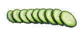 Sliced cucumber isolated on white background with clipping path
