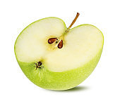 Half green apple isolated on white background with clipping path