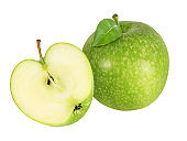Green apple isolated on white background with clipping path