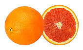 Red orange slices isolated on white background with clipping path
