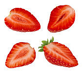 Strawberry halved isolated on white background with clipping path