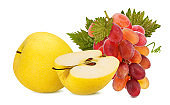 Yellow apple and grapes  isolated on white background with clipping path
