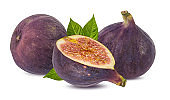 Figs with leaves isolated on white background with clipping path