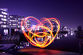 Heart shaped light painting in the city