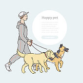 Man with two large dogs on leash. Vector line art host with pets shepherd and labrador for a walk illustration banner and round area for text.