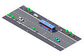 City street with 2-lane road and bus stop. Vector isometric illustration.