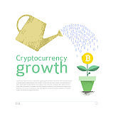 Bitcoin and other cryptocurrencies mining and growth, conceptual poster, vector illustration