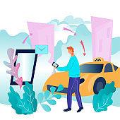 Process of booking taxi via mobile app flat vector illustration. Passengers car transportation online services