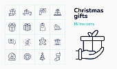 Christmas gifts line icon set. Present box, truck