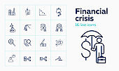 Financial crisis line icon set