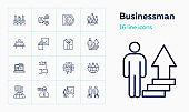 Businessman line icon set