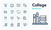 College line icon set